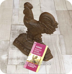 Novelty Farmhouse Cast Iron Rust Effect Door Wedge - Rooster