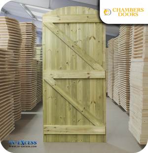 Chambers Doors Redwood Tanalised Ledge & Braced Arched Door - 1981mm x 915mm