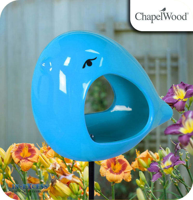 ChapelWood Hand Painted Ceramic Bird Feeder Stake - Breeze Blue