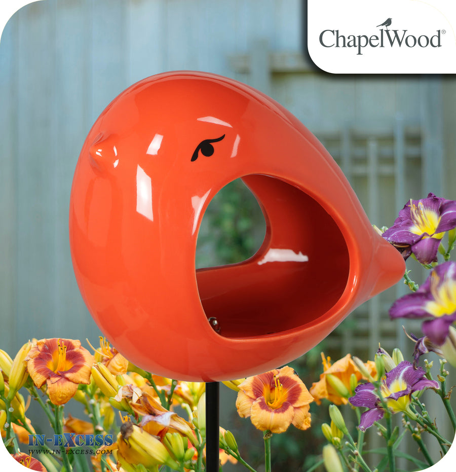 ChapelWood Hand Painted Ceramic Bird Feeder Stake - Ember Orange