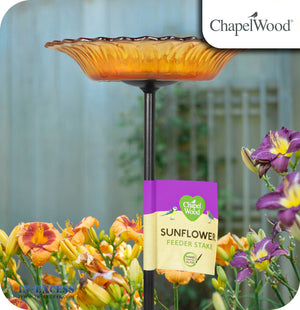 ChapelWood Hand Painted Glass Sunflower Feeder Stake