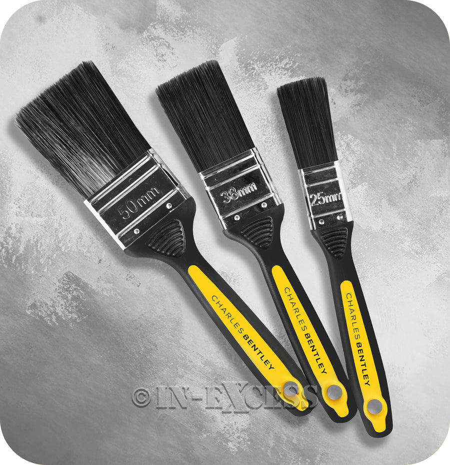 Charles Bentley Tradesmen Professional Quality Classic Paint Brush Set - Pack Of 3 Brushes