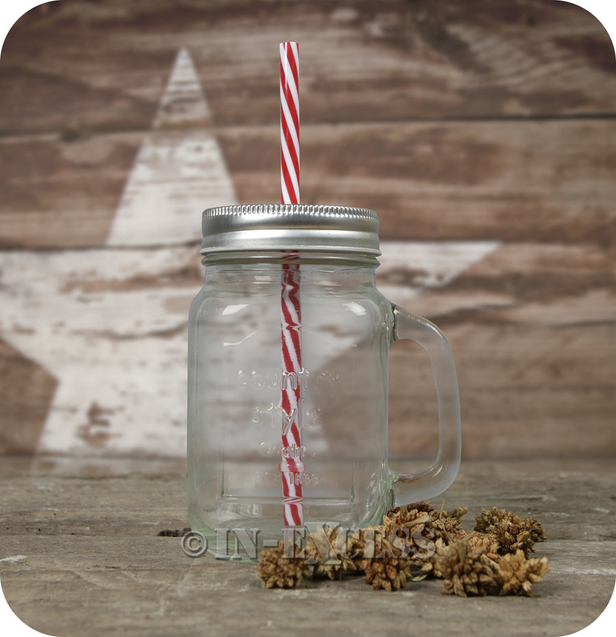 Circleware Country 15oz Mason Embosed Jar Mug With Straw Lid - Set of 8