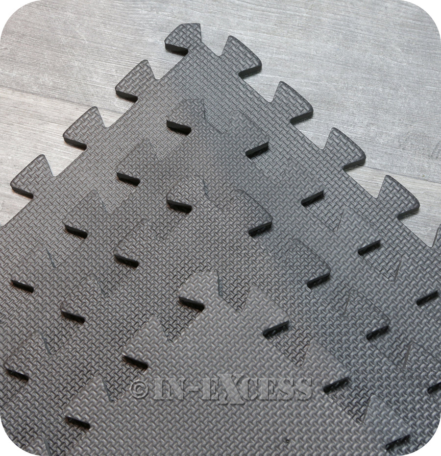 Connect-A-Mat Foam Floor Kids Play Tiles Anti-Fatigue Interlocking Mats 6 Square Metres - Black