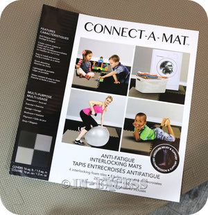 Connect-A-Mat Foam Floor Kids Play Tiles Anti-Fatigue Interlocking Mats 6 Square Metres - Coffee & Black