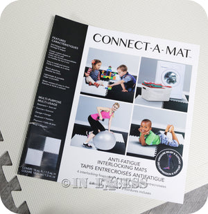 Connect-A-Mat Foam Floor Kids Play Tiles Anti-Fatigue Interlocking Mats 6 Square Metres - White & Black