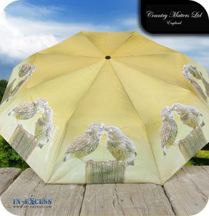 Country Matters Telescopic and Folding Umbrella - 'Kissing Owls'