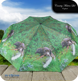 Country Matters Telescopic and Folding Umbrella - 'Up to Mischief'