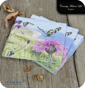 Country Matters Paper 3 Ply Napkins Pack of 20 - 'Coastal Butterfly'