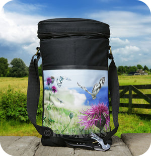 Country Matters Two Bottles of Wine Cool Bag With Corkscrew - 'Coastal Butterfly'