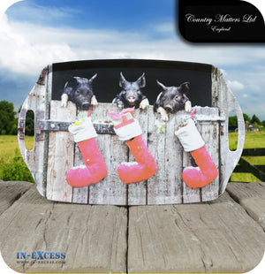 Country Matters Melamine Large Handled Carrying Tea Tray - 'Festive Pigs'