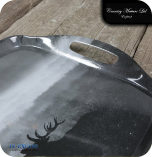 Country Matters Melamine Large Handled Carrying Tea Tray - 'Roaring Stag'