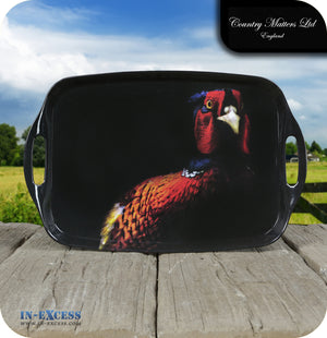 Country Matters Melamine Large Handled Carrying Tea Tray - 'Pheasant'