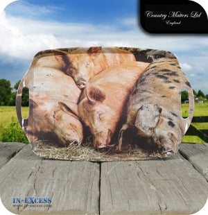Country Matters Melamine Large Handled Carrying Tea Tray - 'Sleeping Pigs'