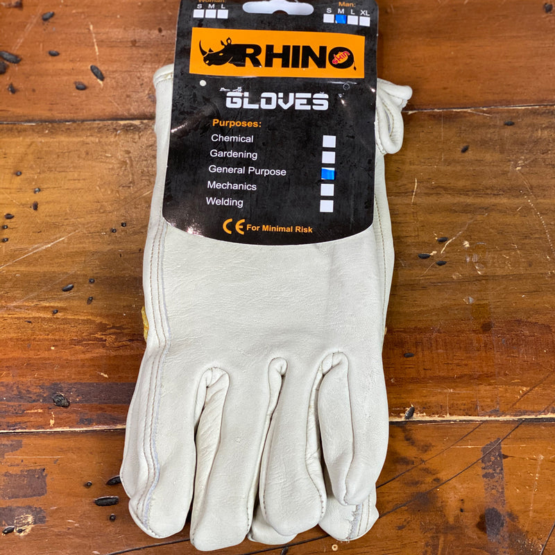 Rhino Soft Grey Leather Premium Work Glove - Mens Medium