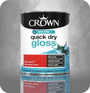 Crown Paints Non Drip Quick Drying Gloss Interior & Exterior Paint - Top Notch (750ml)