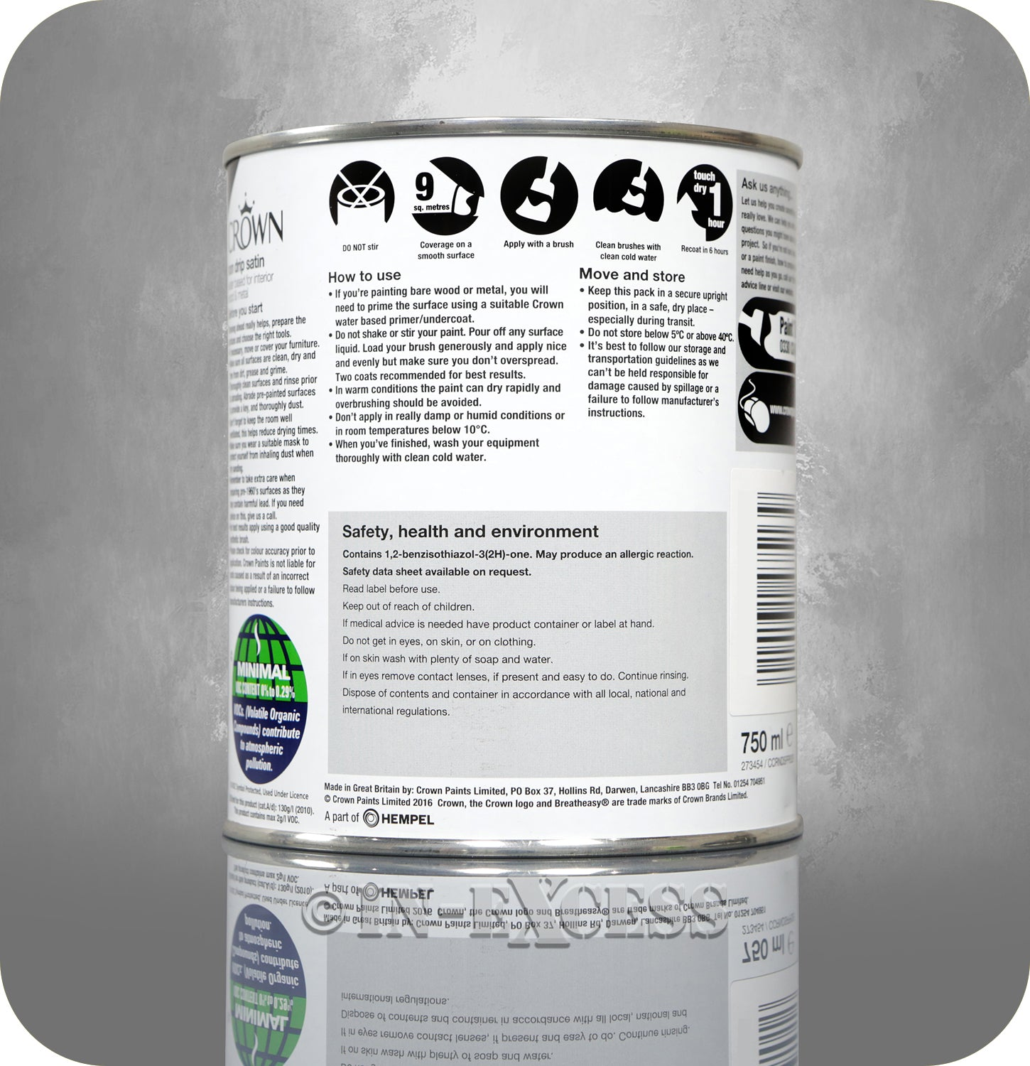Crown Paints Non Drip Quick Drying Satin Interior Paint