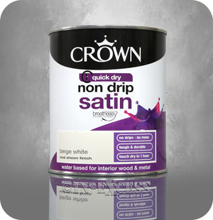 Crown Paints Non Drip Quick Drying Satin Interior Paint - Beige White (750ml)