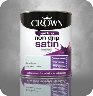 Crown Paints Non Drip Quick Drying Satin Interior Paint - Blue Bay (750ml)