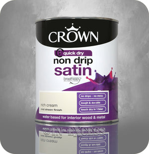 Crown Paints Non Drip Quick Drying Satin Interior Paint - Rich Cream (750ml)