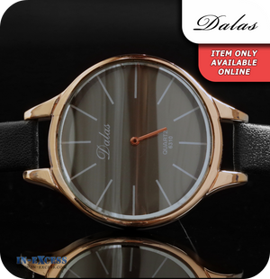 Dalas Dali Quartz Watch With Synthetic Leather Strap - Black & Copper/ Rose Gold
