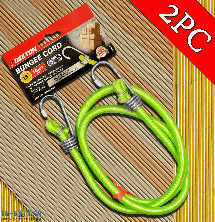 "Dekton 2PC 18"" 10mm Thick Bungee Cord With Zinc Plated Steel Hooks"