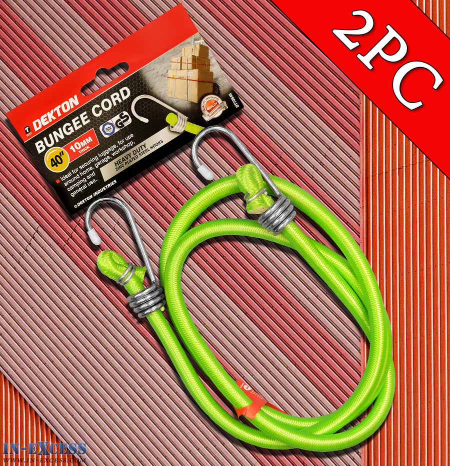 "Dekton 2PC 40"" 10mm Thick Bungee Cord With Zinc Plated Steel Hooks"