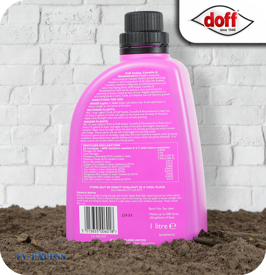 Doff Azalea, Camellia & Rhododendron Ericaceous Plant Feed Liquid Concentrate - 1 Litre