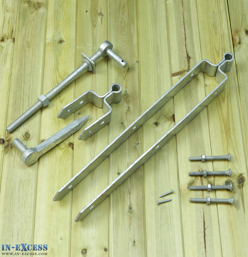 Double Strap Hinge Set Galvanised With Gate Hanger Bolt 600mm 24""