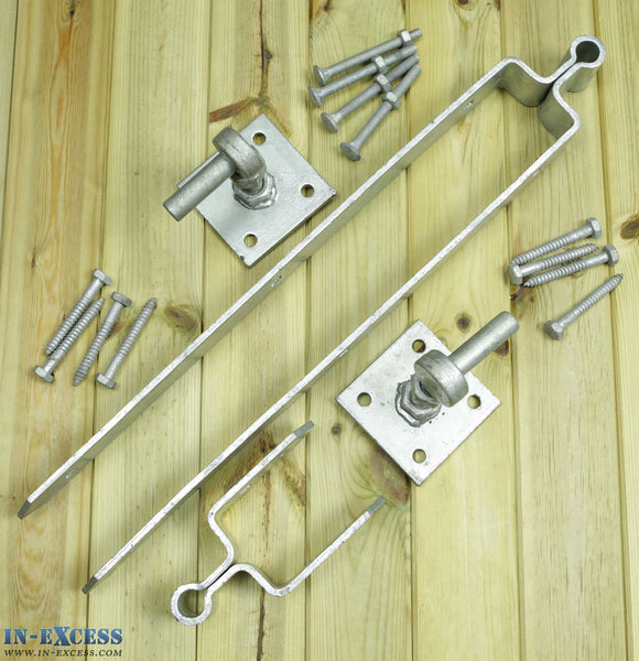 Double Strap Hinge Set Galvanised Gate Hanger Bolt 600mm Hooks On Plate
