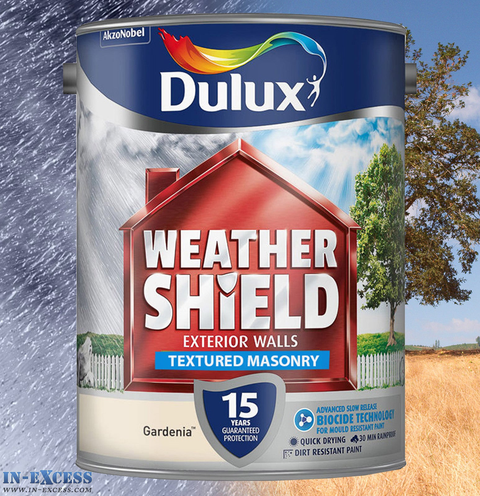 dulux weather shield exterior walls masonry paint textured gardenia in excess direct. Black Bedroom Furniture Sets. Home Design Ideas