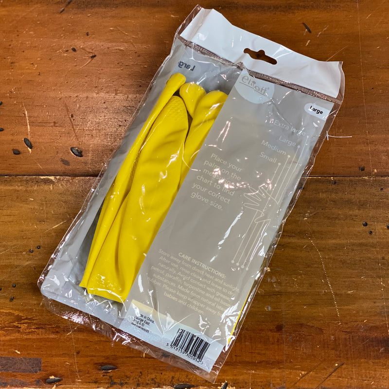 Elliott Flock lined Yellow Rubber Gloves - Size Large