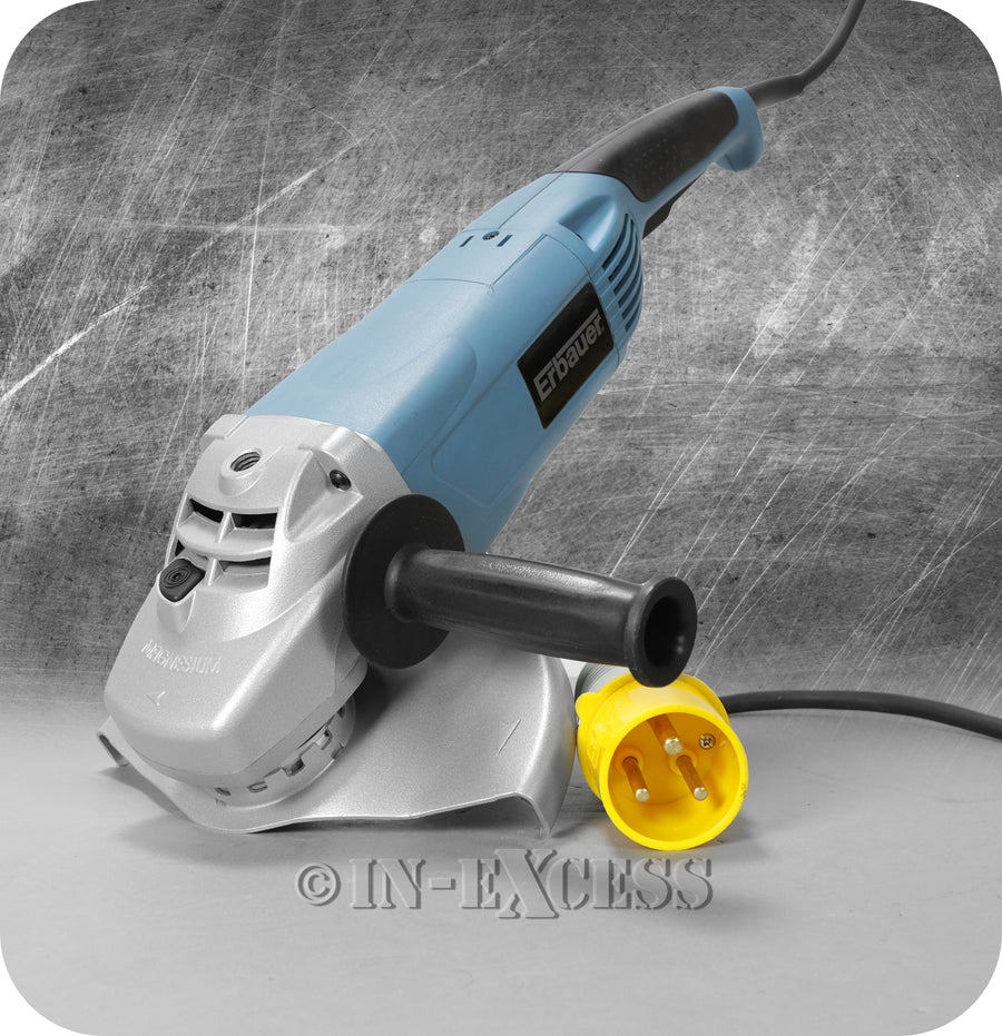 Erbauer 230mm Electric Angle Grinder Power Tool 110v 50Hz Industrial M14 - 2000W