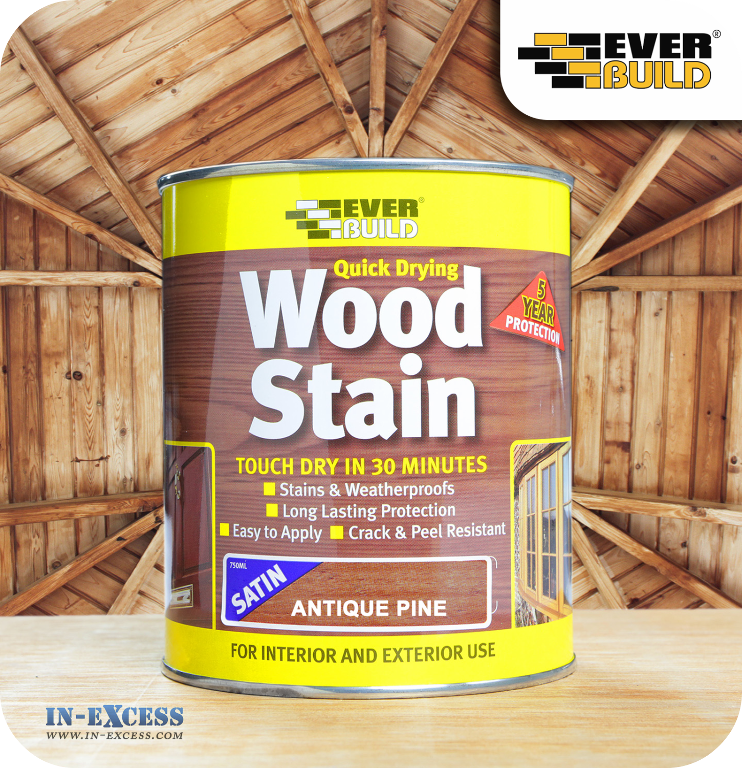 Everbuild quick drying satin wood stain 750ml antique pine