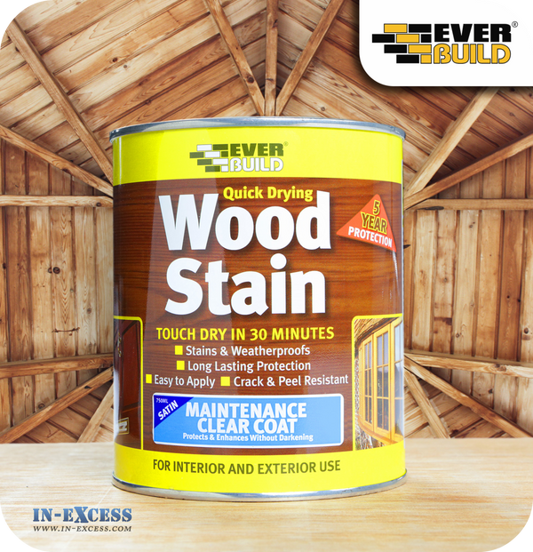 EverBuild Quick Drying Satin Wood Stain 750ml - Clear Varnish
