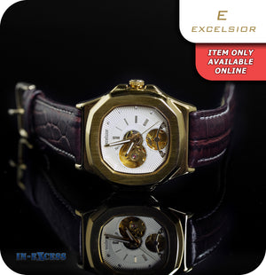 Excelsior Ethereal Self Wind Mechanical Wrist Watch With Genuine Leather Strap - Brushed Gold & Brown