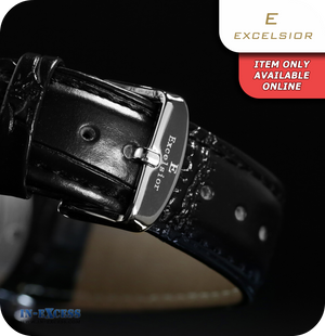 Excelsior Magnum Mechanical Skeleton Wrist Watch With Synthetic Leather Strap  - Black & Silver