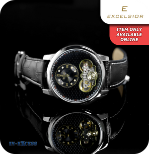 Excelsior Fantasia Mechanical Wrist Watch With Genuine Leather Strap - Carbon Black