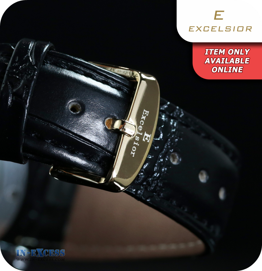 Excelsior Mechanical Skeleton Mens Wrist Watch Synthetic Leather  - Black & Gold