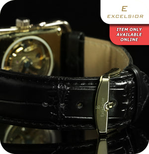 Excelsior Rectangle Mechanical Skeleton Wrist Watch With Synthetic Leather Strap  - Gold & Black