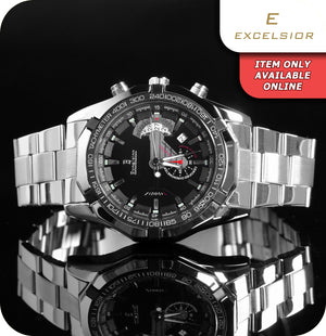 Excelsior Trident Tachymeter Mechanical Wrist Watch With Link Strap - Silver & Black