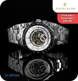 Excelsior Valerio Tachymeter Mechanical Wrist Watch With Link Strap - Silver & Black