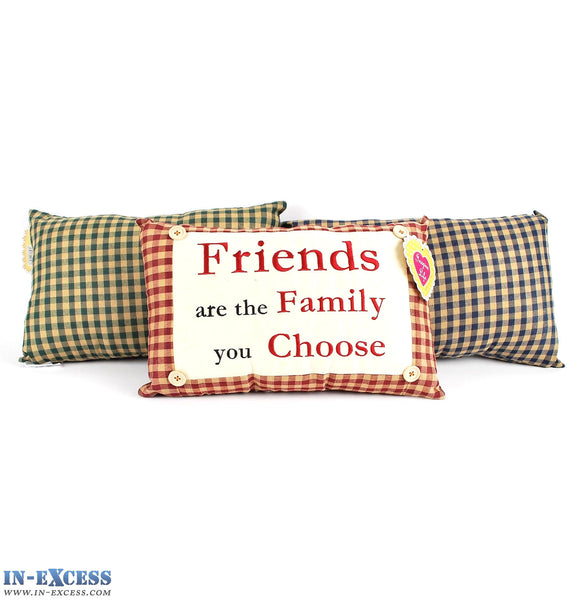 "Novelty ""Friends Are The Family You Choose"" Cushion 38 x 23cm Blue, Green or Red"