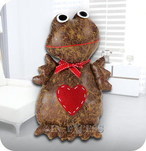 Novelty Frog Hearted Franklin Door Stop & Stay -  PU Leather