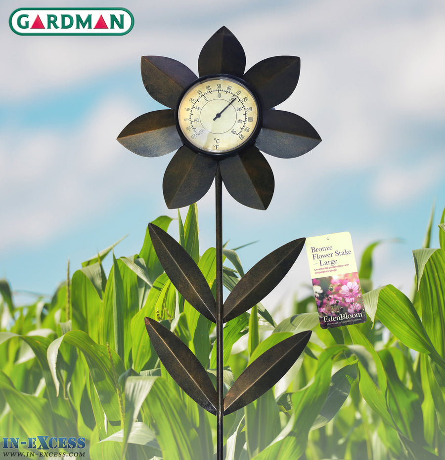 Edenbloom Gardman Large 120cm Bronze Flower Stake & Temperature Gauge - Large