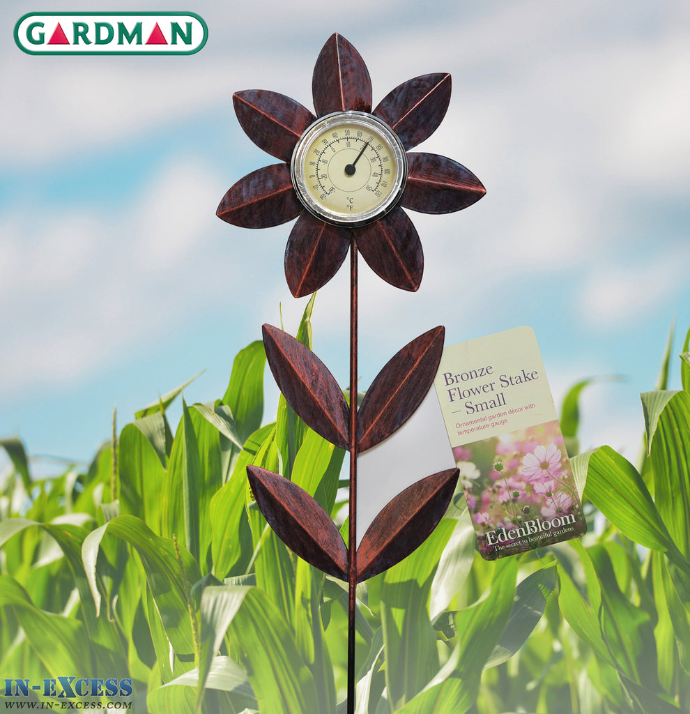 Edenbloom Gardman Large 77cm Bronze Flower Stake & Temperature Gauge - Small