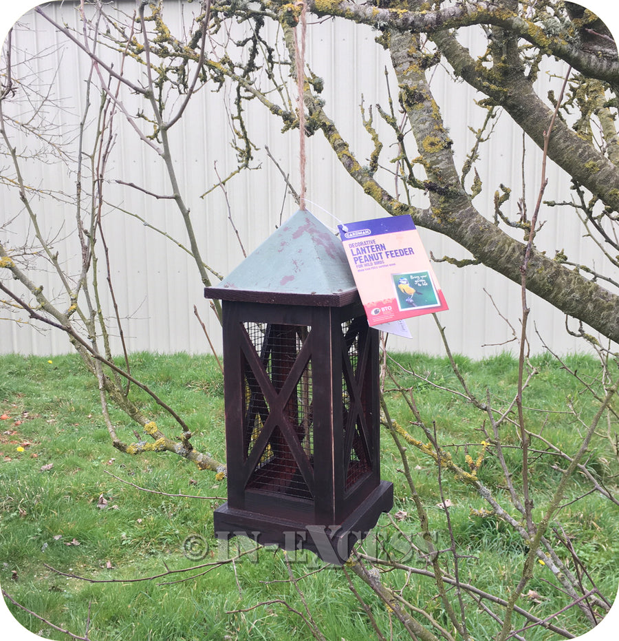 Gardman Wildlife Decorative Lantern Wild Bird Peanut Feeder - Brown Wood