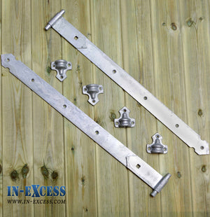 "Reversible Gate Hinges 600mm 24"" Galvanised Heavy Duty Hook & Stable Door - Set of 2"