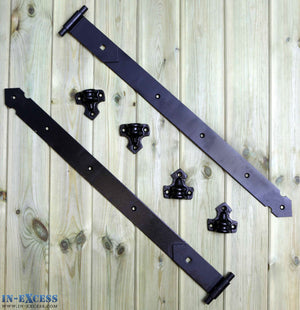 "Reversible Gate Hinges 600mm 24"" Black Heavy Duty Hook & Band Stable Door - Set of 2"