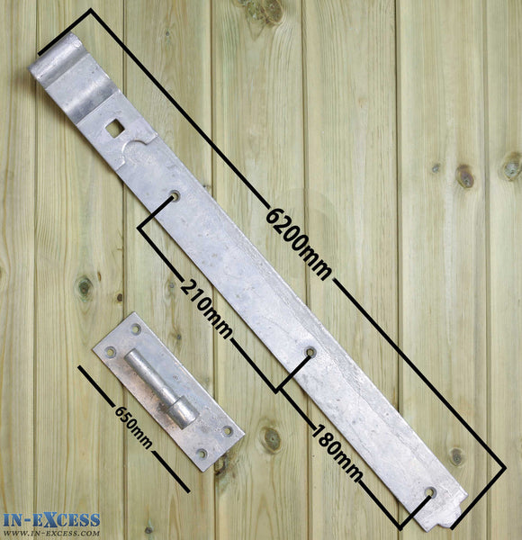 "600mm/24"" Cranked Hook & Bands Galvanised Gate Door Hinge Heavy Duty - Set of 2"